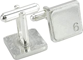 Square Cufflinks with '6' Engraved - 6th Anniversary