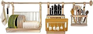 Séchoir à vaisselle, Étagère de cuisine murale de ustensiles de cuisine, porte-vaisselle en acier inoxydable, rack de vida...