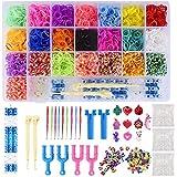 Gudotra 6800pcs Gomas para Hacer Pulseras Juguetes de DIY Variedad de Colores Regalo Navidad Cumpleaños Niño Niña con Gomitas Colgantes Aparatos Necesarios