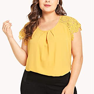 Womens Short Sleeve Fzitimx Summer New T-Shirts Large Size Round Neck Solid Color Chiffon top Floral Lace Shoulder T-Shirt Tops Blouse