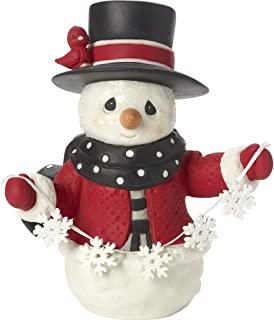 Precious Moments May All Your Christmases Be White Eighth in Annual Snowman Series Bisque Porcelain Figurine 171015