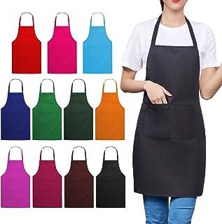 """TrendBox Total 11 PCS Plain Color (Medium Size) Bib Apron Adult Women Unisex for Waist size 30"""" to 42"""" Durable Comfortable..."""