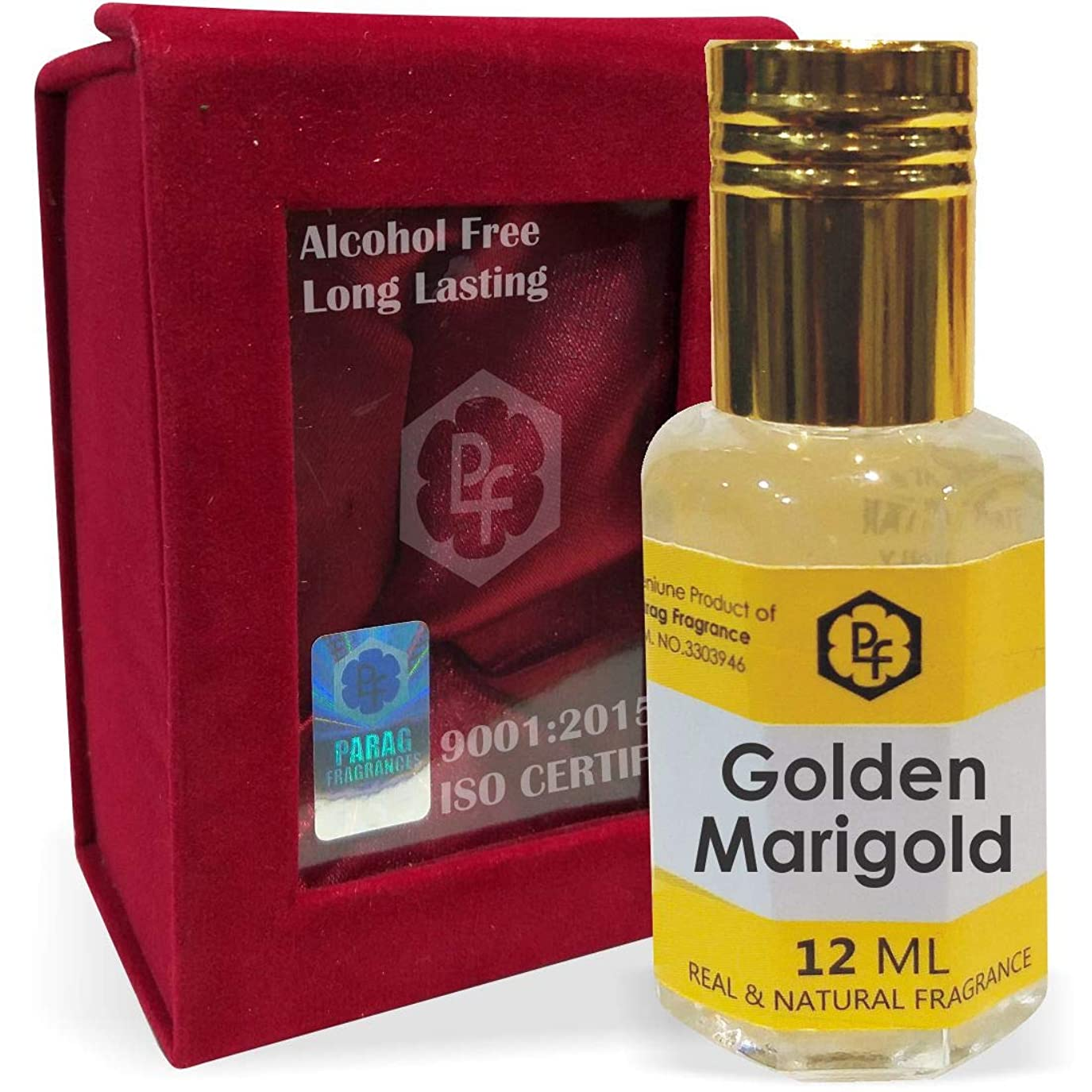 たらいピニオンメールを書く手作りのベルベットボックスParagフレグランスゴールデンマリーゴールド12ミリリットル(インドの伝統的なインドのBhapkaプロセス方法製)アター/香油/フレグランスオイル|長持ちアターITRA最高の品質