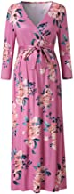 Jeash Women's Maternity Plus Size Long Sleeve V-Neck Floral Print Ankle-Length Maxi Dress