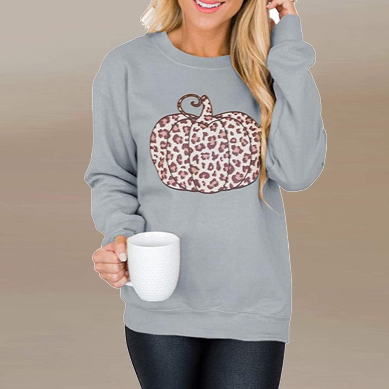 2020 Automne Manches Longues O-Cou Chemisier Chemises Femmes Casual Halloween Citrouille Imprimer Pull Tops Élégant Dames Sweat-shirt Blusa 01 Citrouille Noir