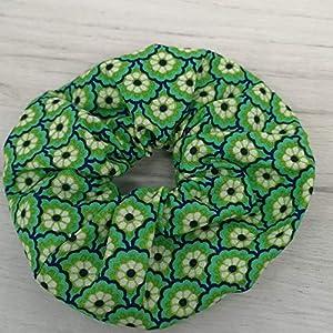 ALSTERschmuck Haargummi scrunchie – grüne Blüten