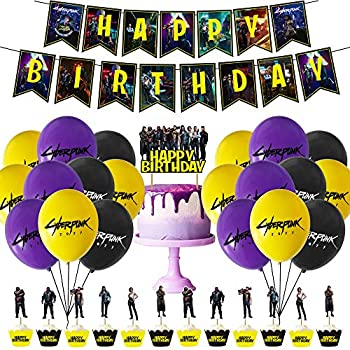 Cyberpunk Birthday Party Supplies Cyberpunk Game Themed Party Decorations Include Happy Birthday Banners Cake Flags Cake Top Hats and Latex Balloons