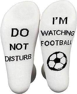 XIMIXI, Diversión y Novedad Mitad de la Pantorrilla Calcetines para Los Aficionados al Fútbol, No Molestar Estoy Viendo Fútbol Algodón Calcetines para Hombre, EU 39-45
