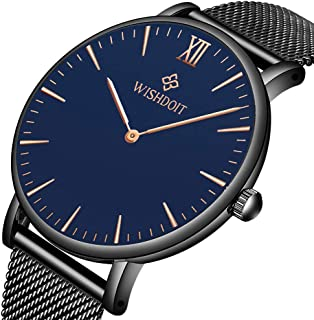 Men's Watch Ultra-Thin Minimalist Black Quartz Watch Fashion Waterproof Watch for Men Stainless Steel with Classic Black Milanese Mesh/Leather Band …