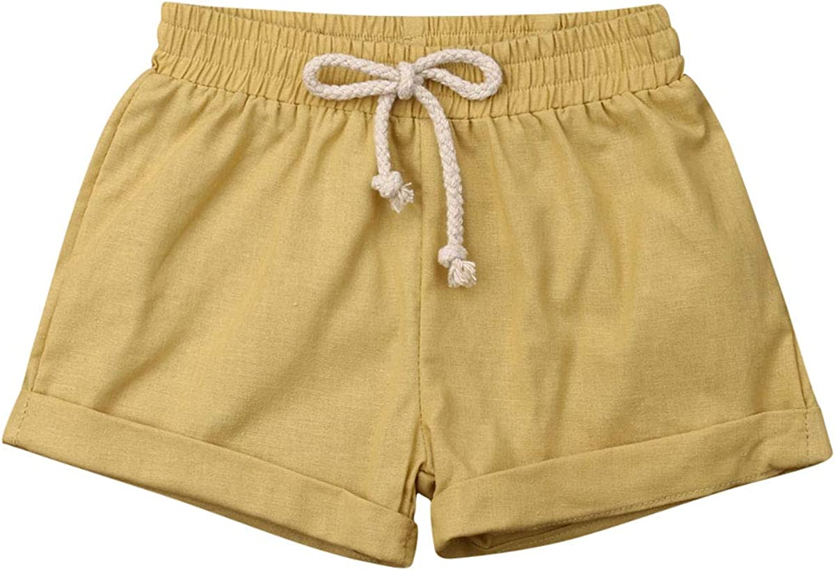 BULINGNA Baby Girl Boy Cotton Drawstring Shorts Harem Pants Joggers Elastic Waist Bottoms Bloomers