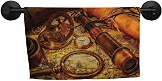 Antique,Hand Towel Magnifying Glass Compass Telescope and Pocket Watch on an Old Map Nautical Microfiber Towels for Body W 28