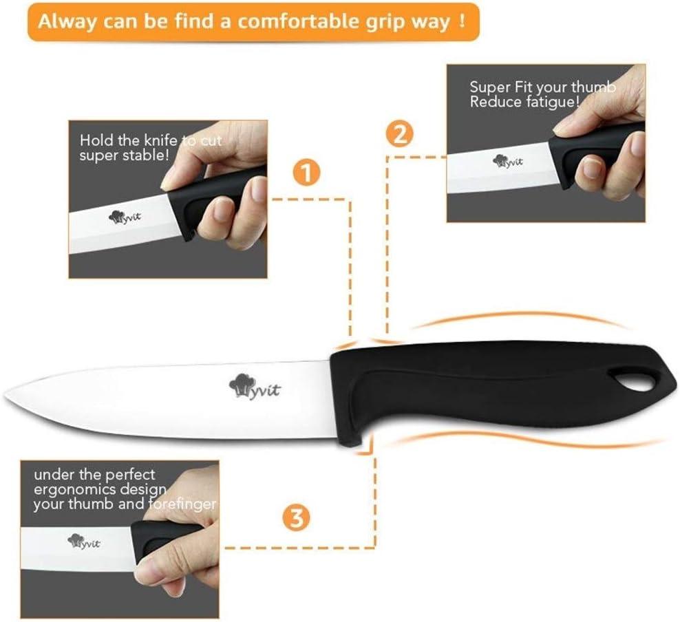Keramik-Messer-Küche-Chef Fleisch Dienstprogramm Slicing-Schnipsel-Messer-weißes Blatt Bunte Anti-Rutsch-Griff-Werkzeug Kochen (Color : 4 inch grey) 5 Inch Grey