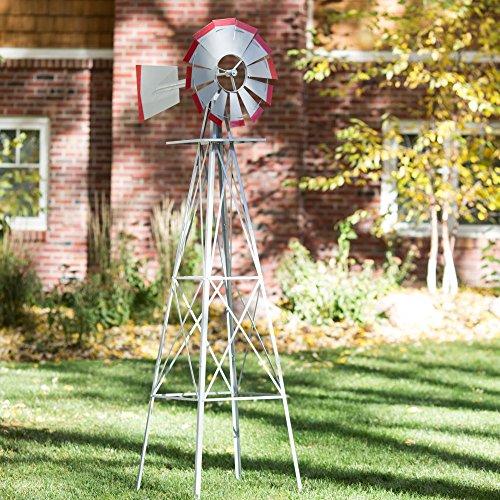 Smv Ornamental Windmill 8 Ft. Tall Red Steel