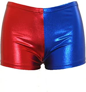 Women's Faux Leather Cosplay Blue Red Shorts Panties...