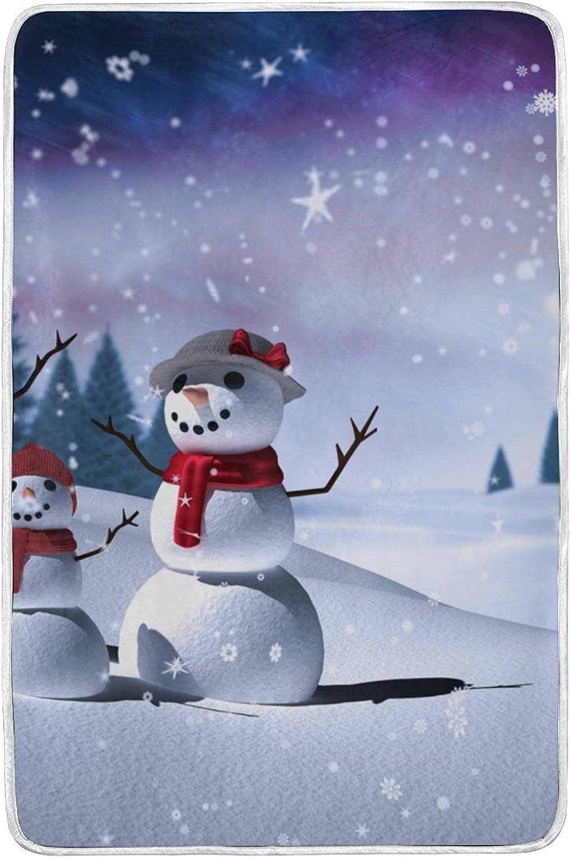 JSTEL Christmas Snowman Tree Lightweight Blanket for Adults Men Women Girls Kids Girls Boys Teens Bed Extra Soft Polyester Fabric Super Warm Sofa Blanket Throw Size 60 x 90 Inch