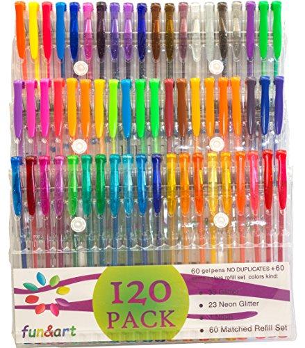 fun&art 120 Gel Pen Set Pack, Unique Glitter, 60 Colors - No Duplicates Plus 60 Matching Ink Refills.
