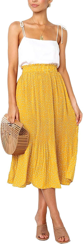PERSUN Women's Casual Elastic Waist A Line Midi Long Skirt with Pockets(Boho Floral/Polka Dots Print)