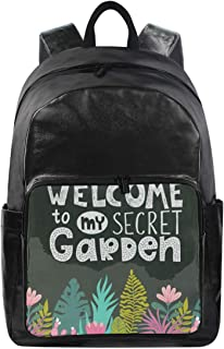 Casual Lightweight Laptop Backpack,Welcome To My Secret Garden Durable Travel College Bag for Womens/Girls