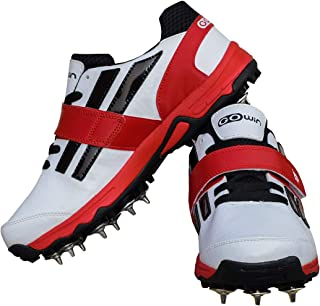 Gowin Pace White/Red Cricket Spikes Shoes