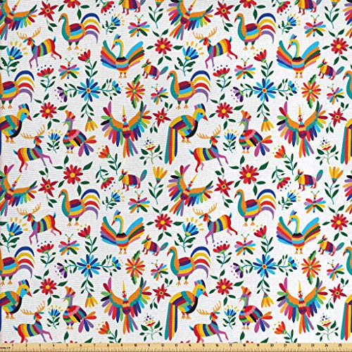 Ambesonne Mexican Fabric by The Yard, Traditional Latin American Art Design with Natural Inspirations Flowers and Birds, Decorative Fabric for Upholstery and Home Accents, 1 Yard, Tan Brown