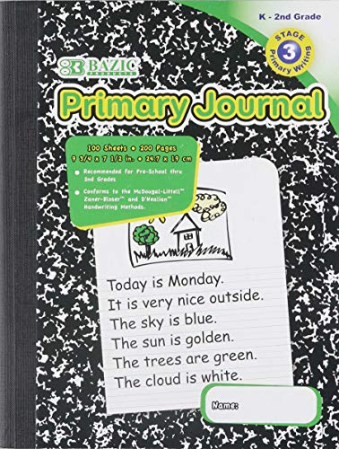 "BAZIC Primary Journal Marble Composition Book. 100 Sheet Notebook for Grades K-2 (9 ¾"" x 7 ½"". Case of 48)"