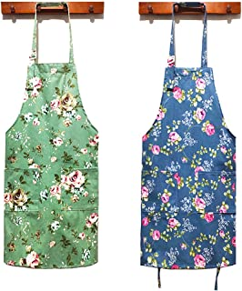 پیش بند آشپزخانه زنانه HOMKIN-2 ، پیش بند گل بوم پنبه ای ، پیش بند طرح دار گلدار با جیب هایی برای پیش بند آشپز خانمها (سبز