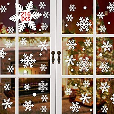 YUSONGIRL 108 PCS Christmas Window Stickers for Glass White Snowflakes Window Clings Xmas Decal for Party and Holiday Christmas Decorations Ornaments with Different Shapes of Snowflakes