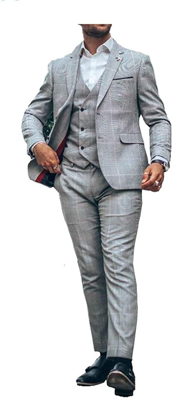 Men's Formal Wear Suit Tampa Mall Direct store Vested 3 Slim Fit Plaid Pieces Light Sing