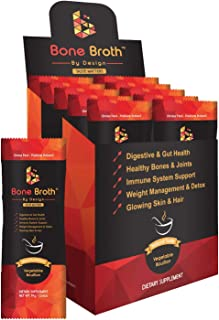 Bone Broth Grass Fed Beef • 10 Sachets • Vegetable Bouillon Natural Flavor • Paleo • Ketogenic with MCT Oil • Non GMO • Broth by Design