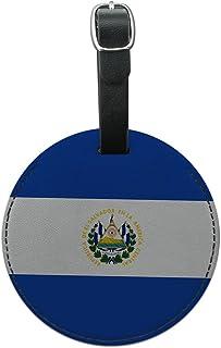 Graphics & More El Salvador 国家国旗圆形皮革行李 ID 标签手提箱 黑色 均码