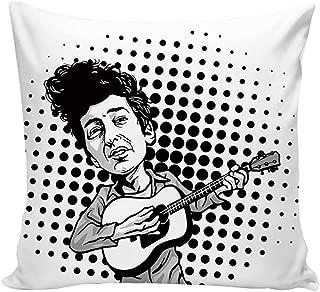 YOLIYANA Bob Dylan Decor Waterproof Print Pillow Cover,Pop Art Cartoon Style Musician Playing Guitar Folk Music Singer Icon Decorative for Bar,26''L x 26''W