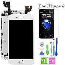 Hoonyer Pantalla para iPhone 6 Pantalla táctil LCD Pantalla digitalizadora Herramientas de reparación (con botón de Inicio, cámara Frontal,Sensor de proximidad, Altavoz) Blanco