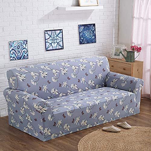 TiA Funda De Sofá Elástica Cubre Sofa Universal para Sala De Estar con Estampado De Flores De Vid De 3 Plazas Poliéster Suave De 1 Pieza para Protector De Sofá