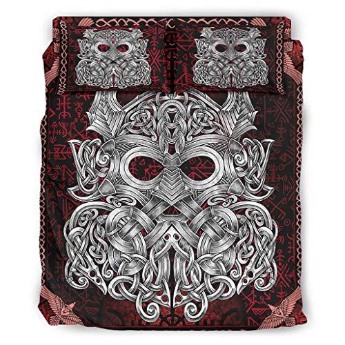 Wandlovers Juego de ropa de cama vikingo Odin guerrero, 4 piezas, diseño celta, para todo el año, funda nórdica y fundas de almohada, decoración blanca 5 240 x 264 cm