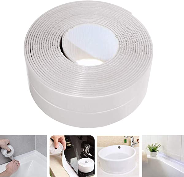 Caulk Strip LIKEGOR Flexible Self Adhesive Sealing Tape Waterproof For Kitchen Bathroom Tub Shower Floor Wall Seam White 126x1 5 Inches