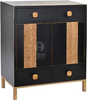 DRW Buffet aparador de Madera Abeto y Metal con 2 Puertas talladas y 4 cajones Negro y Beige 80x40x94cm