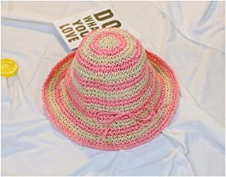 Baby Decoration Hat Baby Stripe Wide-Brimmed Straw Hat Kids Beach Hat Sun Protection Hat for 6-24 Months(White and Black) Cute Cap (Color : Pink, Size : 44-48cm)