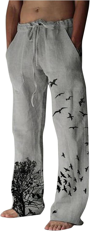 XUETON Mens Linen Pants Elastic Waist Drawstring Casual Summer Pants Cotton Comfy Loose Fit Lightweight Yoga Beach Pant