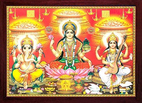 HandicraftStore Indische Religiöse Göttin Maa Laxmi sitzend in Blume von Lotus und Duschen Geld & Wohlstand mit Lord Ganesha und Maa Sarasvati, Muss für Verehrung Zweck.