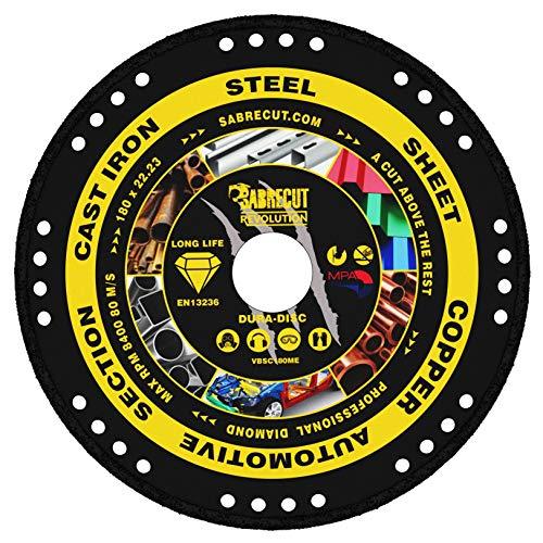 """1 x SabreCut VBSC180ME 180 mm (7"""") x 22,23 mm de diámetro de corte de metal soldado al vacío, hoja de disco de sierra circular compatible con Bosch Dewalt Makita Milwaukee y muchos otros"""