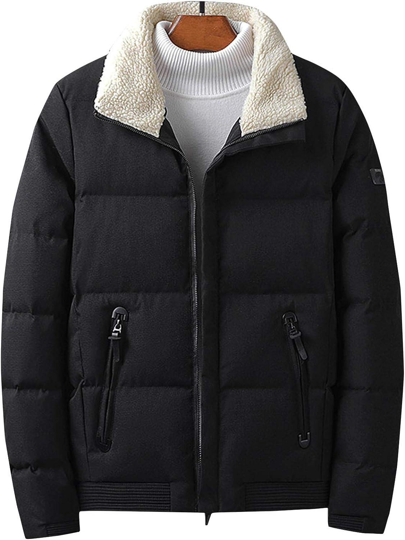 Flygo Men's Outdoor Winter Down Coats Full-Zip Padded Parka Jacket with Fur Collar