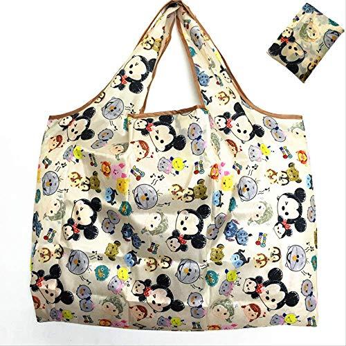 nobrand Niedlichen Cartoon Faltbare Einkaufstasche umweltfreundliche Tasche wasserdichtem Nylon große Kapazität Aufbewahrungstasche Einkaufstasche KhakiTsum