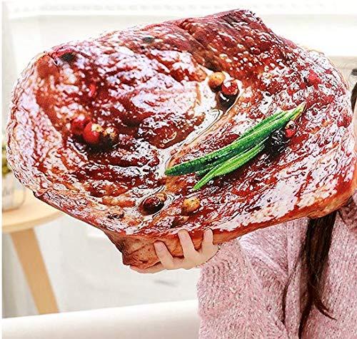VARWANEO Plush Simulation Food Cream Bread Pillow Cushion, Cute and Creative Home Decoration (Steak, 7.8in)