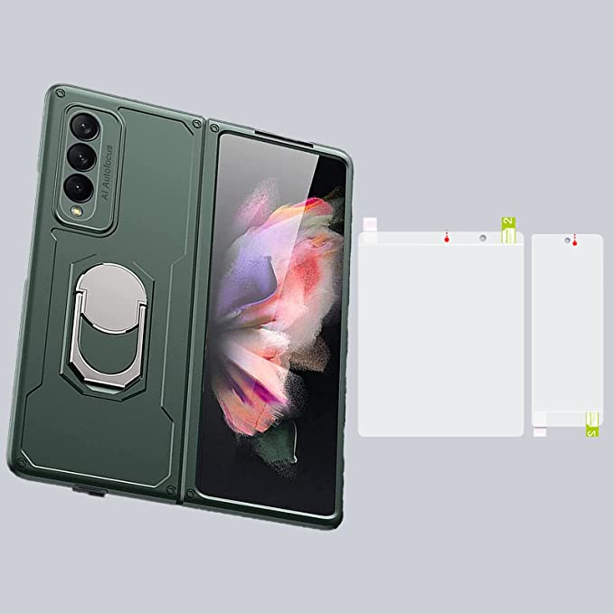for Samsung Galaxy Z Fold 3 5G Case, Z Fold 3 Case with Screen Protector - Luxury Hard PC Shockproof Armor with Ring Holder&Viewing Kickstand Full Protection Cover (Green)