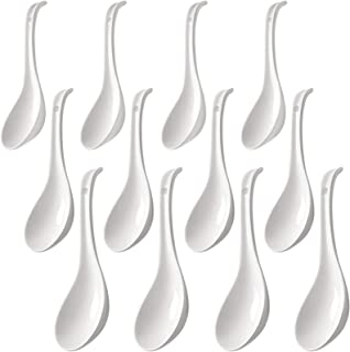Yesland 12 Pcs Asian Soup Spoons, 6.75 Inches Porcelain Ramen Spoons & Chinese Wonton Soup Spoons for Noodle, Rice in Home...