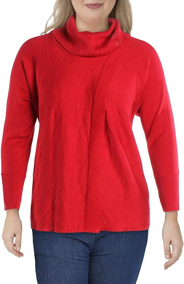 JM Collection Womens Plus Lace-Up Ribbed Trim Poncho Sweater
