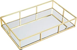 """Houseables Mirrored Tray, Decorative Countertop Organizer, 12""""x 2""""x 8"""", Gold, Ornate Vanity Décor, Bathroom Accessories, Perfume Plate, Jewelry Box, Makeup Holder, Coffee Table Catchall, Brass"""