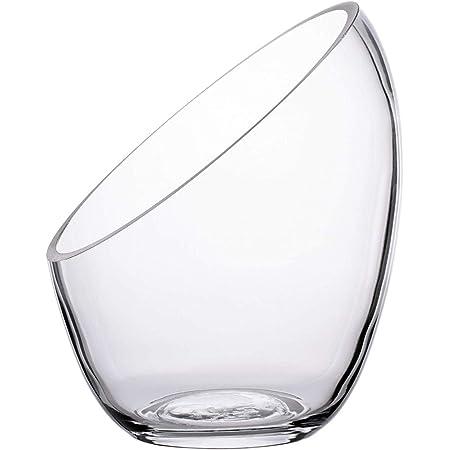 Ecosides- Jarrón de Cristal Transparente Inclinado para Terrario, Diseño de Globo Redondo de Cristal con Burbujas de Corte Ancho, para Poner Caramelos,Plantas,Flores,Frutas