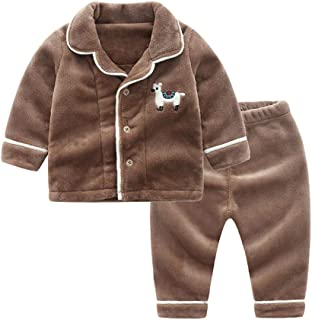 BAIMM Ropa Interior de vellón Coralino para niños, Pijama de Terciopelo cálido, Traje de Engrosamiento para el hogar del b...