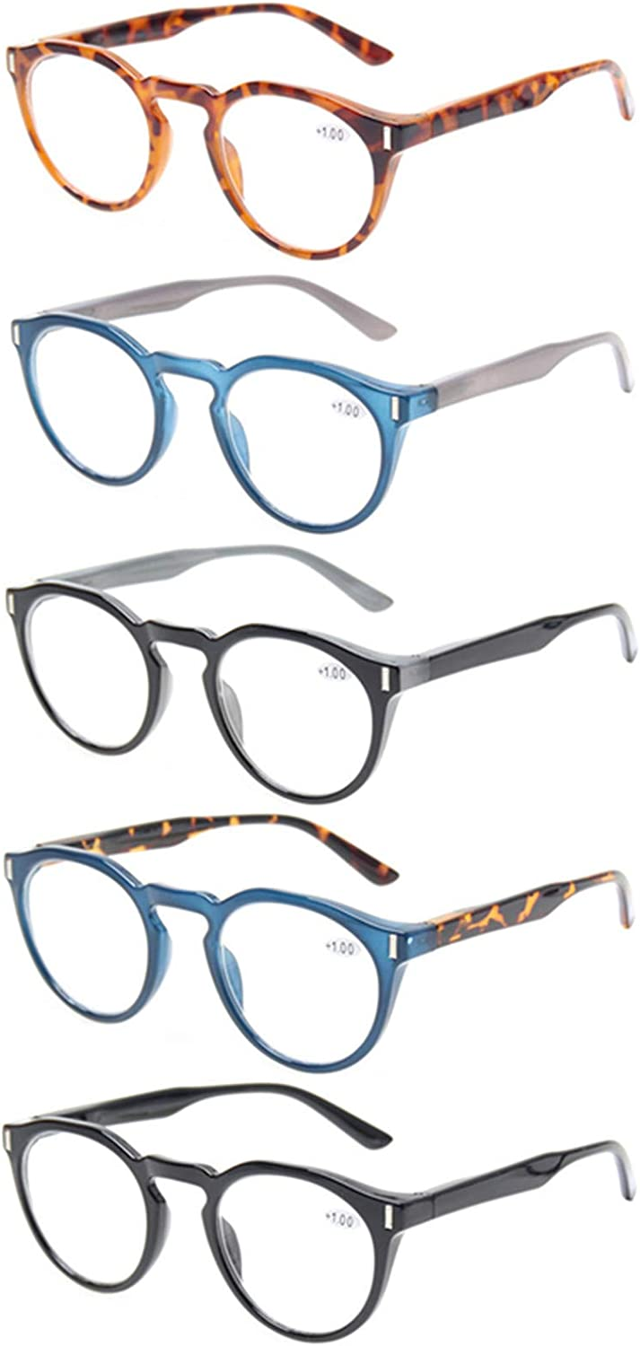 Reading Glasses 5 Pack Fashion Round Max 63% OFF Ranking TOP7 Sprin Readers Large Quality